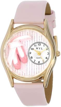 Whimsical Watches Kids' C0510005 Classic Ballet Shoes Pink Leather And tone Watch