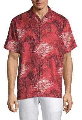 Tommy Bahama Football Fez Fronds Silk Shirt