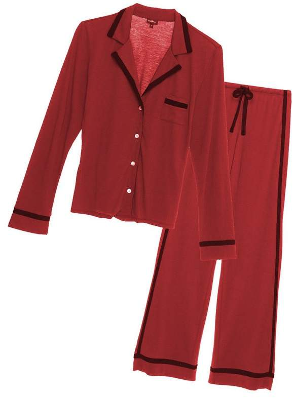 | Bella Long Sleeve Top Pant Pajama Set | Size Xl | Brick red/black