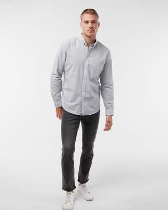 Express Soft Wash Pinstripe Button Collar Cotton Shirt