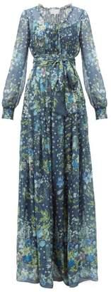 Luisa Beccaria Waist Tie Floral Print Silk Organdy Gown - Womens - Navy Multi