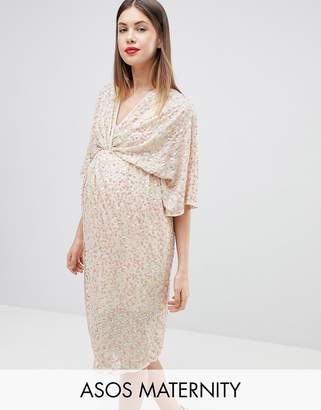 Asos DESIGN MATERNITY scatter sequin knot front kimono midi dress