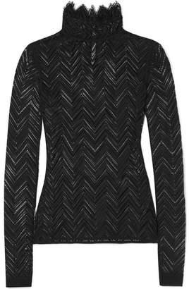 Roland Mouret Caron Ruffled Chevron Stretch-lace Top - Black