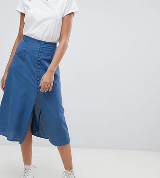 Asos Tall DESIGN Tall full midi skirt with button front