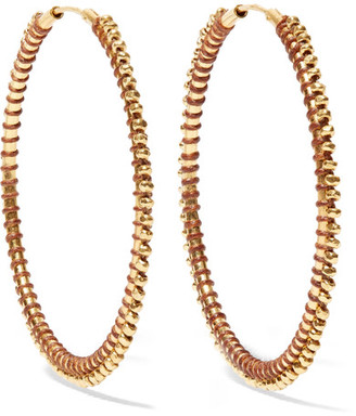 Chan Luu - Gold-tone Enameled Hoop Earrings - One size $205 thestylecure.com