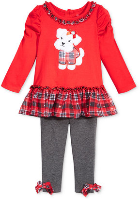 Nannette 2-Pc. Puppy Tunic & Plaid Leggings Set, Baby Girls $34 thestylecure.com