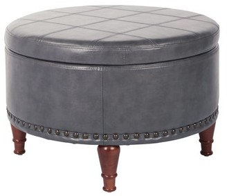 Office Star Ave Six by Products Alloway Storage Ottoman in Pewter Faux Leather with Antique Bronze Nailheads