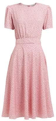 Vika Gazinskaya Polka Dot Print Crepe Midi Dress - Womens - Pink Multi