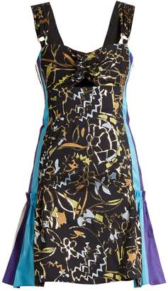 Peter Pilotto Contrast-panel embroidered-jacquard mini dress