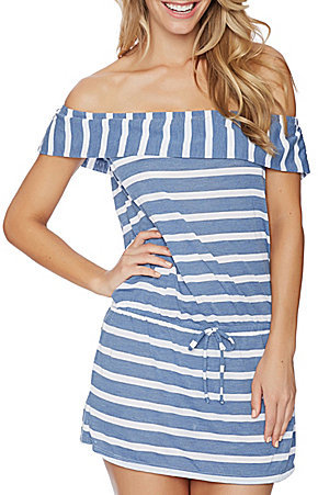 dc9774baa1 Chambray Cottage Off-The-Shoulder Cover-Up Dress. from shopstyle