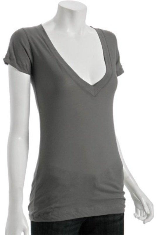 LnA charcoal cotton deep v-neck t-shirt