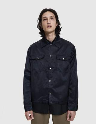 Our Legacy Evening Coach Jacket in Midnight Black Silky Satin
