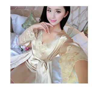 Anzhuangh Women Lace Sleeping Clothes 4 Seasons 2in1 Fashion Sexy Sets  V-Neck Sleepwear Women s 1b16914a2