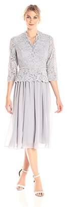 Alex Evenings Women's Faux-wrap Mock Lace Dress with T-Length Skirt