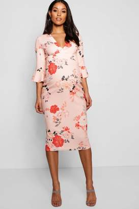 boohoo Maternity Rose Floral Plunge Neck Midi Dress