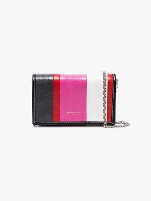 Balenciaga Pink Stripe Bazar Leather cross body bag