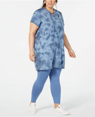 Ideology Plus Size Tie Dyed Lace-Up Tunic