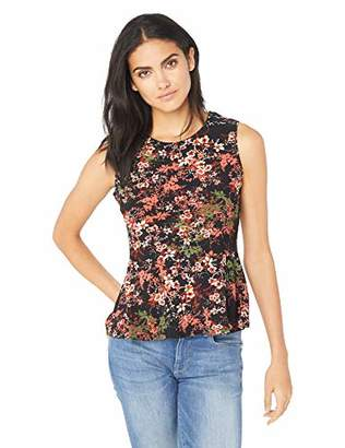 Nine West Women's Cap Sleeve Assymetrical Printed Ity Top
