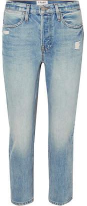 Frame Pegged Distressed High-rise Straight-leg Jeans - Light denim