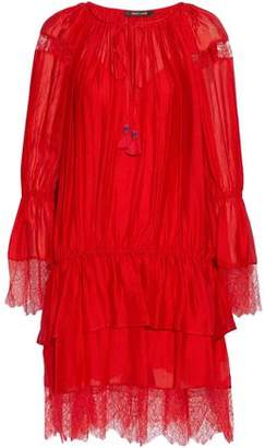 Roberto Cavalli Tiered Lace-Trimmed Silk-Gauze Dress