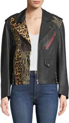 Zadig & Voltaire Liya Patch Leather Moto Jacket