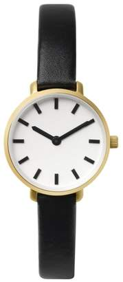BREDA Beverly Round Leather Strap Watch, 26mm