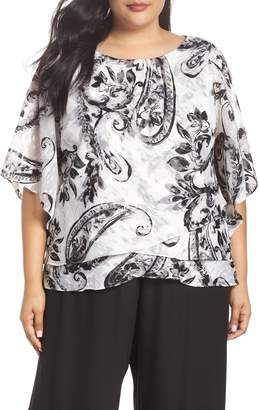 Alex Evenings Tiered Chiffon Blouse