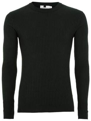Topman Mens Green And Black Muscle Fit Ribbed Sweater