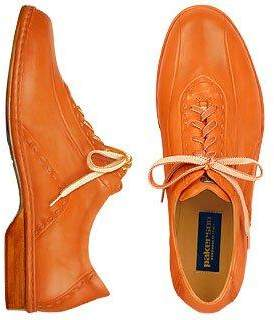 Pakerson Orange Italian Hand Made Calf Leather Lace-up Shoes