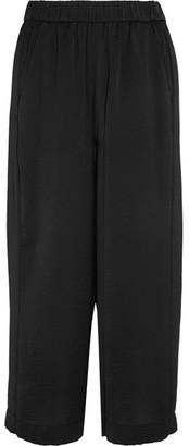 Vince - Cropped Washed-satin Wide-leg Pants - Black $195 thestylecure.com