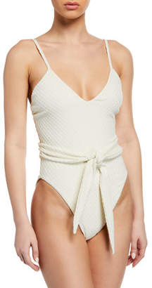 Mara Hoffman Gamela Belted High-Cut One-Piece Swimsuit