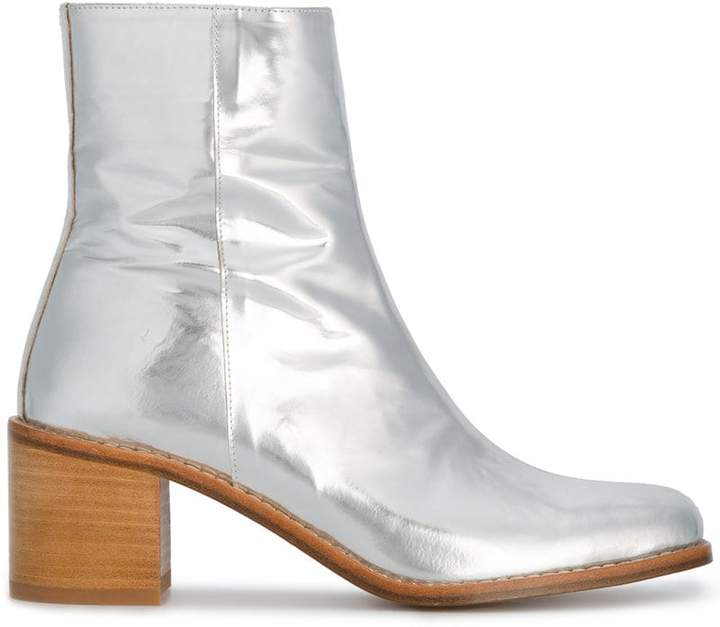 Maryam Nassir Zadeh Silver Patent Leather fiorenza 60 boots