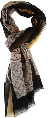 Gucci Bee Web Print Scarf