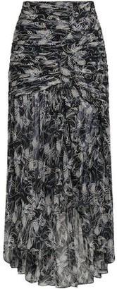 Cinq à Sept Ruched Printed Silk-georgette Maxi Skirt
