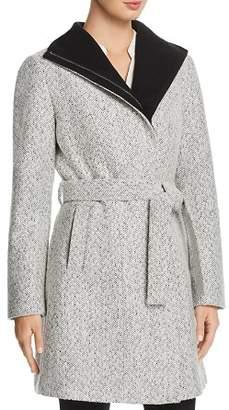 T Tahari Eva Tweed Slit Pocket Coat
