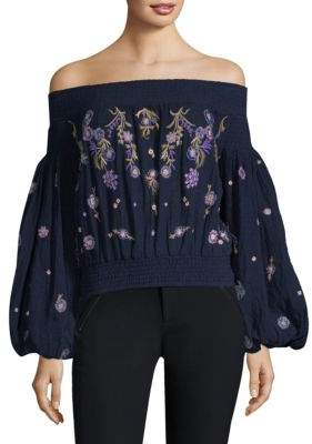 Free People Saachi Embroidered Smocked Top