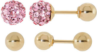 FINE JEWELRY Infinite Gold Kids Pink Crystal 14K Yellow Gold 2-pr. Ball Stud Earring Set
