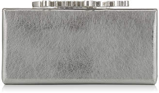 Jimmy Choo CELESTE/S Vintage Silver Etched Metallic Leather Clutch Bag with Crystal Clasp