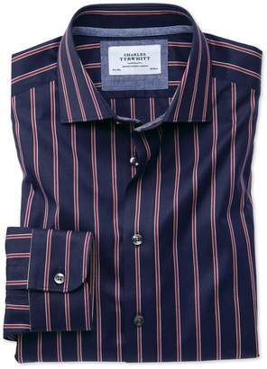 Charles Tyrwhitt Extra Slim Fit Semi-Spread Collar Business Casual Boating Navy and Red Stripe Cotton Dress Shirt Single Cuff Size 15.5/33