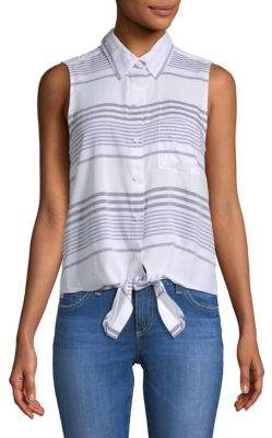 Striped Sleeveless Button-Down Shirt