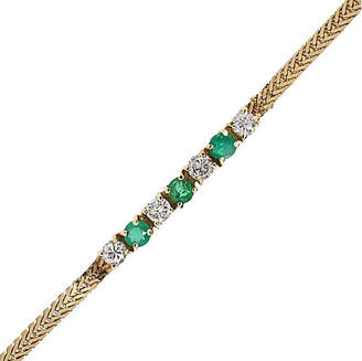 One Kings Lane Vintage Yellow Gold Diamond and Emerald Bracelet