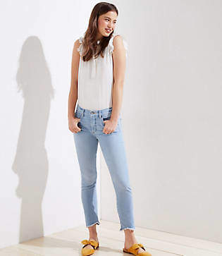 LOFT Modern Soft Slim Pocket Chewed Hem Skinny Crop Jeans in Staple Light Indigo Wash