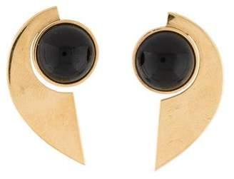 14K Black Onyx Crescent Earrings