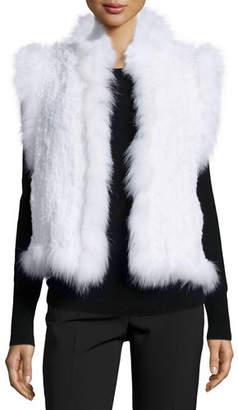 Belle Fare Knitted Rabbit Fur Vest w/Fox Fur Trim