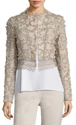 Elie Tahari Leanne Embroidered Cropped Jacke $348 thestylecure.com