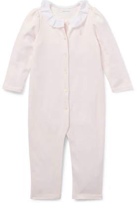 Ralph Lauren Ruffle-Collar Coverall, Size 3-12 Months