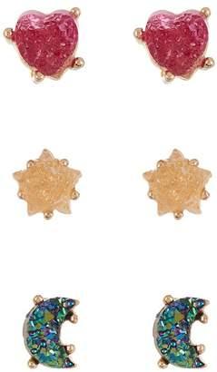 Loren Olivia Faux Druzy Stud Earrings - Set of 3 Pairs