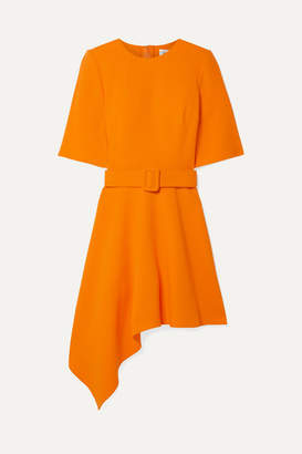 Oscar de la Renta Asymmetric Wool-blend Crepe Mini Dress - Orange