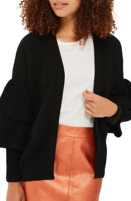 Women's Topshop Layered Ruffle Sleeve Cardigan $85 thestylecure.com