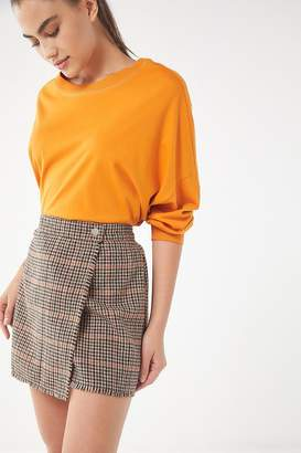 Urban Outfitters Teryn Houndstooth Fray Wrap Skirt